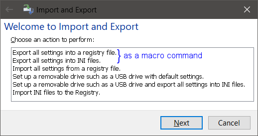 Export all settings as macro command